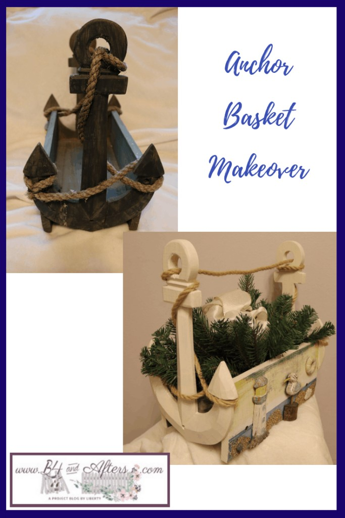 before and after pictures of a wooden anchor shaped basket makeover