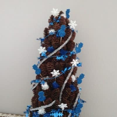 blue and white mini pine cone tree