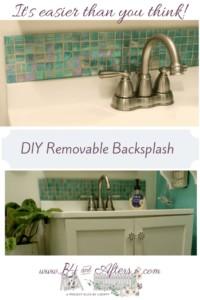 Opalescent Green tile backsplash on bathroom sink