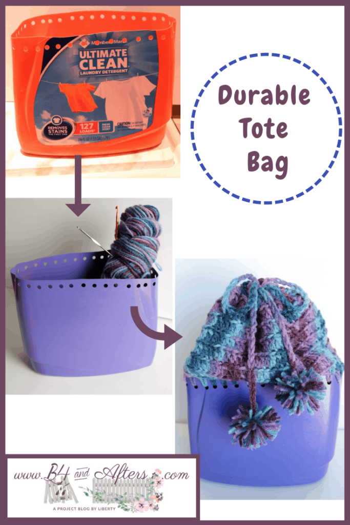 orange detergent container to purple container to crocheted bag