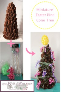 graphic for miniature Easter pine cone tree