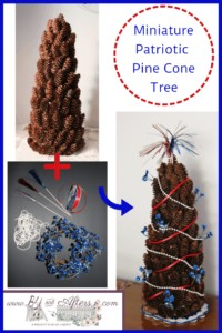 pinecone tree with red, white, and blue accents