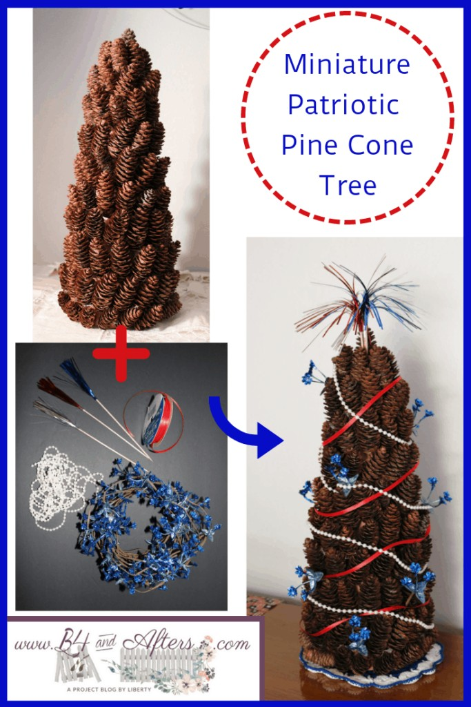pine cone tree decorated patriotically