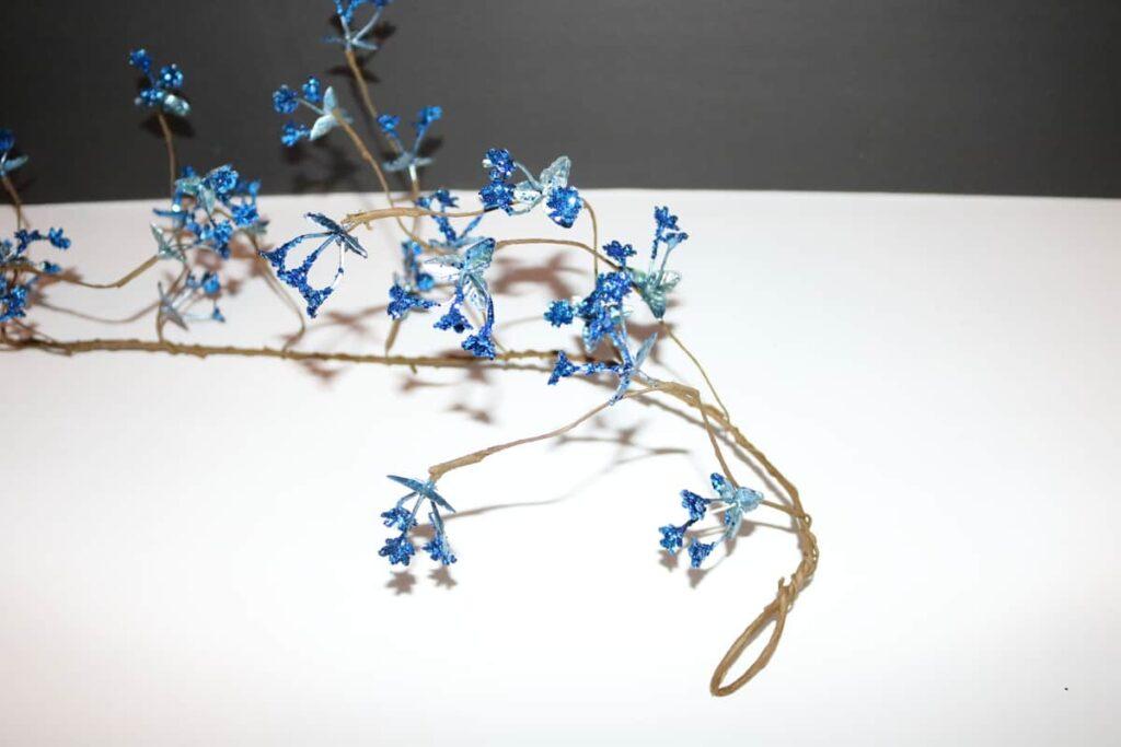 blue glitter flower mini garland