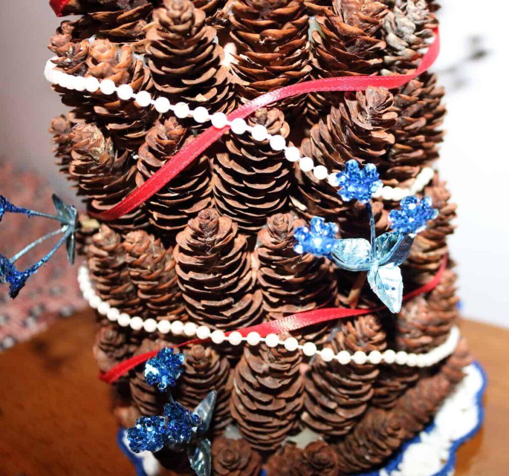 closeup of Patriotic pine cone tree