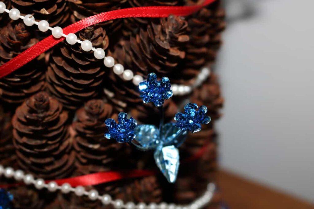 closeup of glitter blue flower