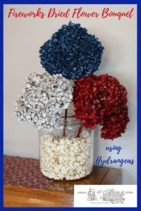 dried hydrangeas painted red, white, and blue