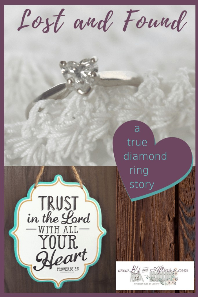 a heart shaped diamond ring with a sing that says Turst in the Lord with All your heart.