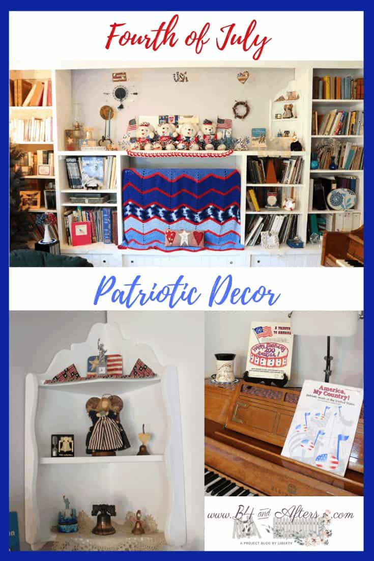 a collage of patriotic themed living room decor