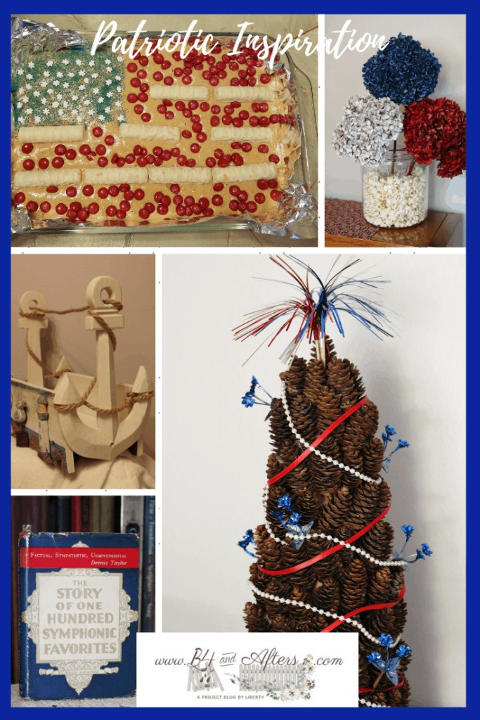 collage of red, white, and blue craft and food ideas