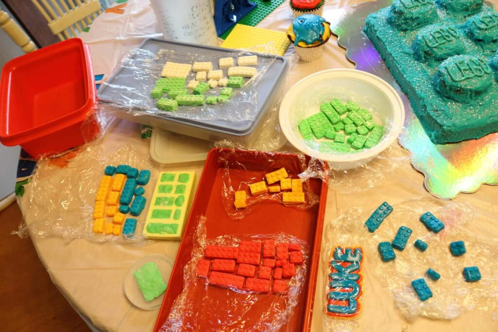 marshmallow fondant lego block making in lots of colors