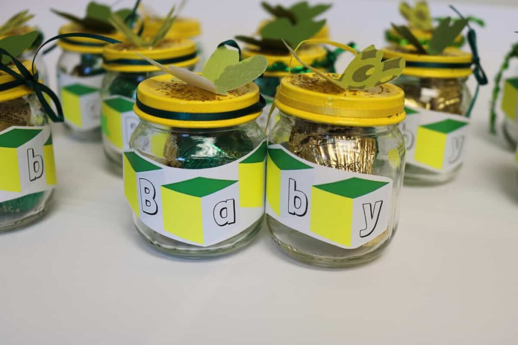 Baby food jars with treats in them all finished https://www.b4andafters.com/Baby-Shower-Favors
