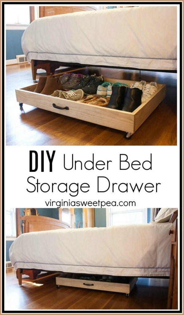 drawer on wheels for under bed shoe storage