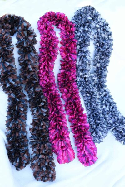 3 scarves- brown, pink, and gray with silver