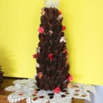 pine cone tree decorated with leaves