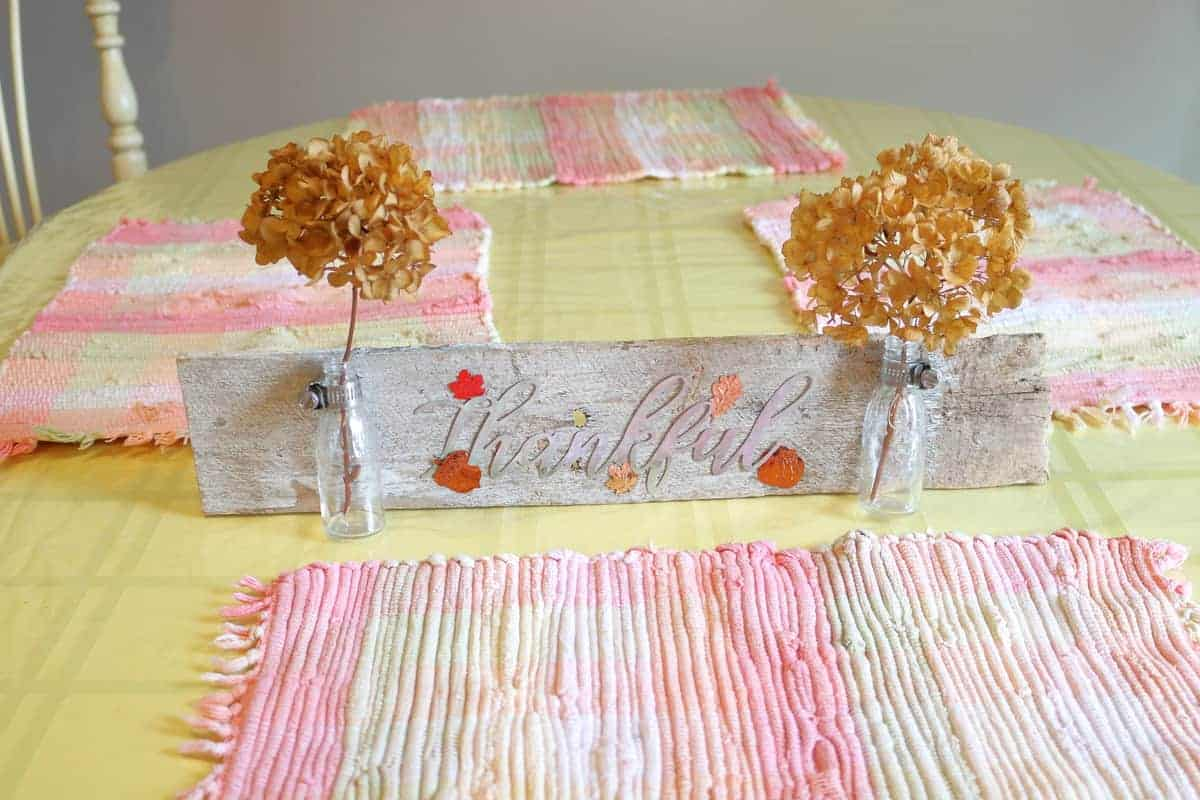 Thankful Sign on a dining table setting