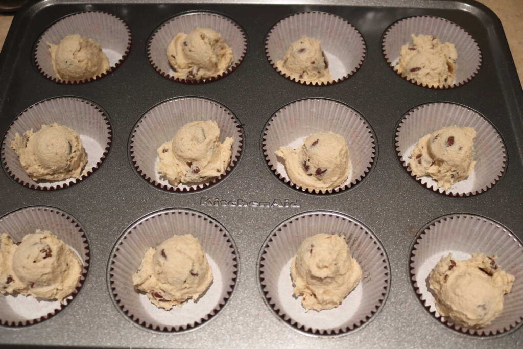 edible chocolate chip cookie dough in paper liners for convenience