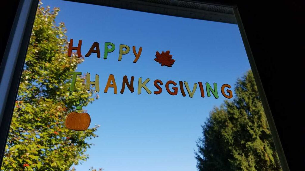 Happy Thanksgiving Window cling with blue sky background