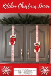 Felt Christmas Stockings on kitchen cupboard doors