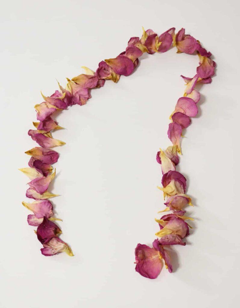 diy rose petal garland https://www.b4andafters.com/rose-petal-garland