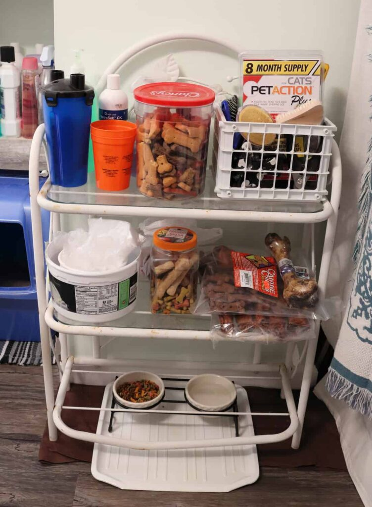 another shelf with pet supplies on it https://www.b4andafters.com/pet-supply-area