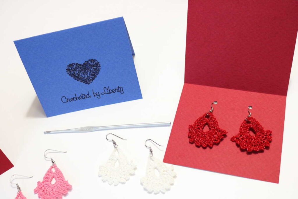 red earrings on a gift card tag https://www.b4andafters.com/easy-crocheted-earrings/