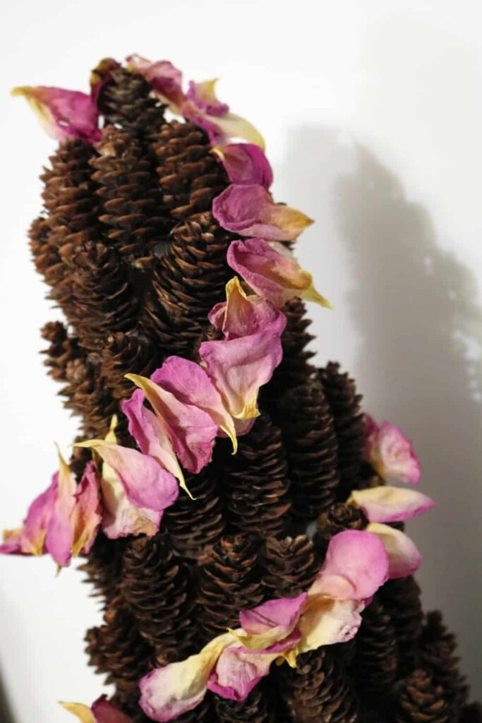 close up of rose petal garland https://www.b4andafters.com/rose-petal-garland