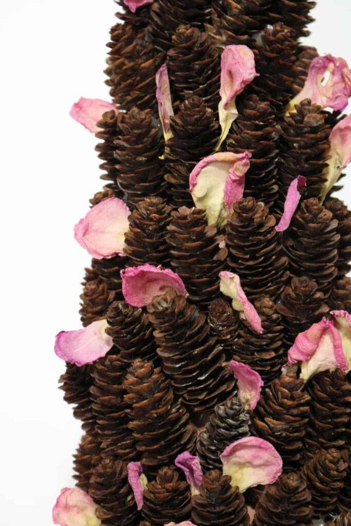 rose petals in pine cones https://www.b4andafters.com/rose-petal-garland