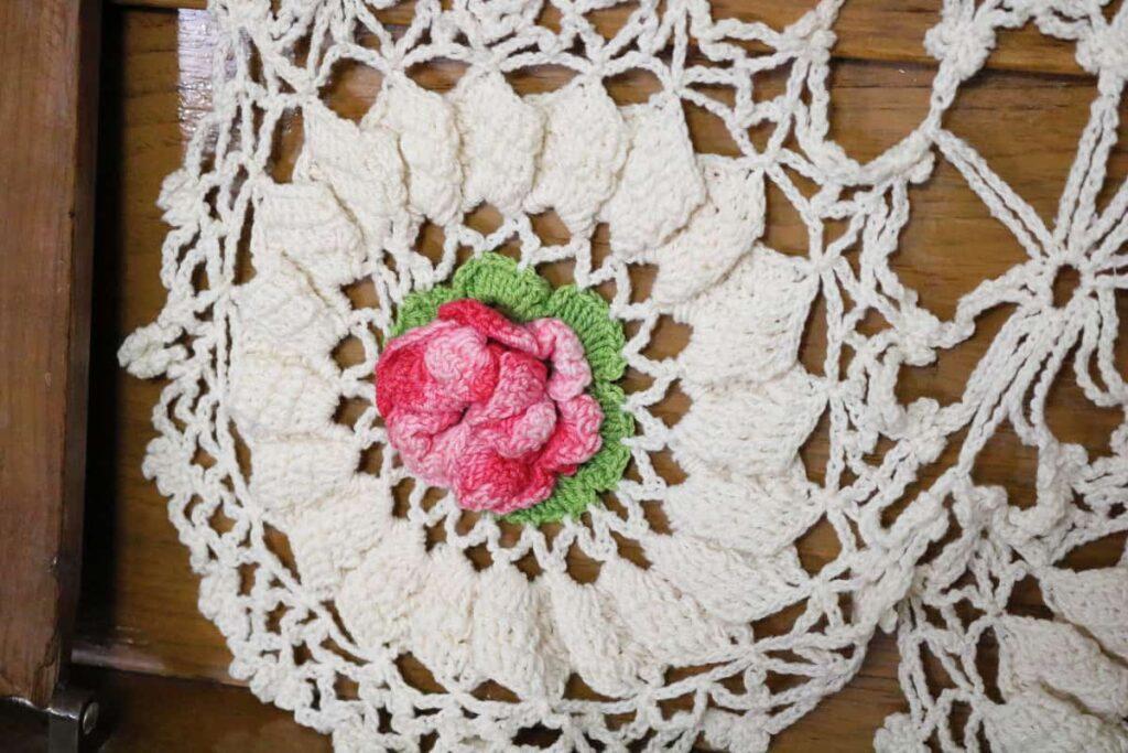 rose doily closeup https://www.b4andafters.com/rose-petal-garland