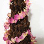 rose petal garland pine cone tree