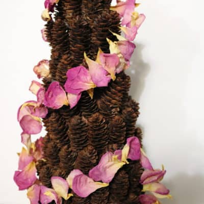rose petal garland pine cone tree
