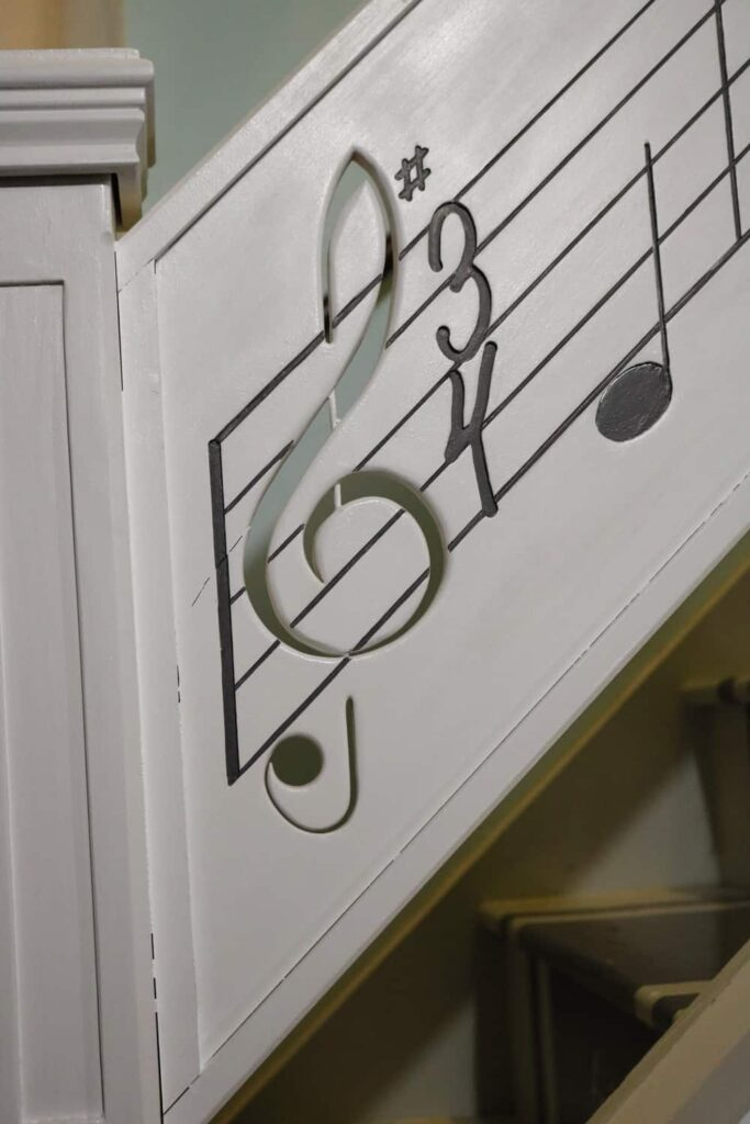 the front of the treble clef https://www.b4andafters.com/music-stair-railing