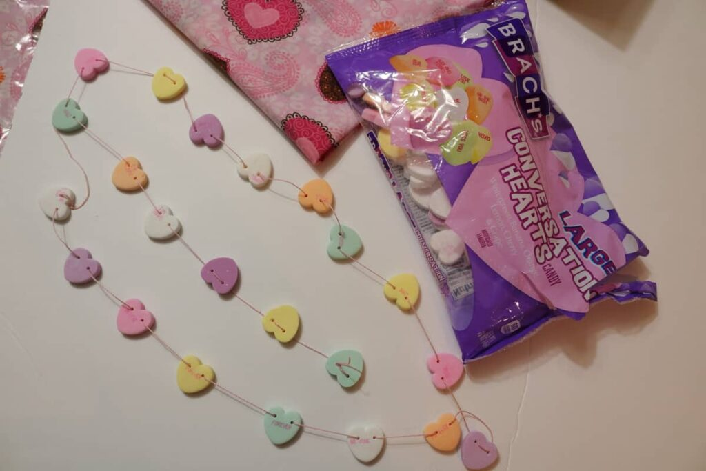 conversation heart garland and bag of candy https://www.b4andafters.com/conversation-heart-garland