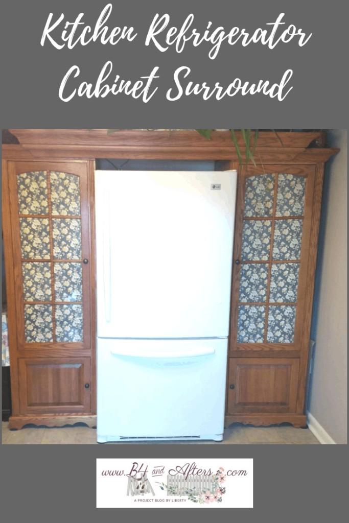 Pinterest Graphic for Kitchen Refrigerator Cabinet Surround
