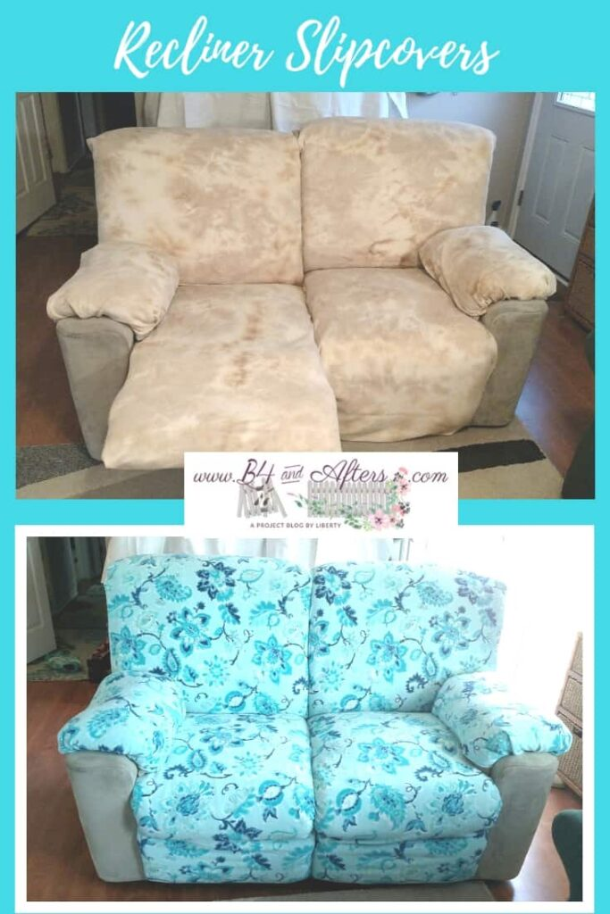 pinterest graphic for recliner slipcovers showing before and after