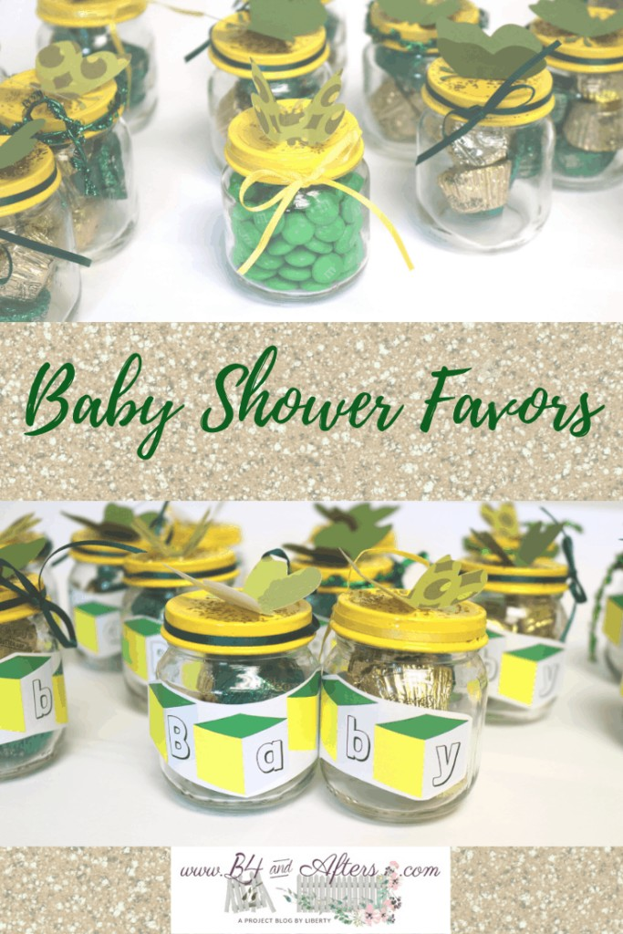 pinterest graphic of Baby Shower Favors with treat filled jars https://www.b4andafters.com/Baby-Shower-Favors