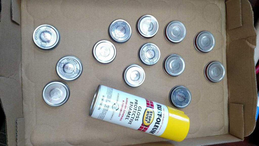 baby food jar lids and spray paint https://www.b4andafters.com/Baby-Shower-Favors