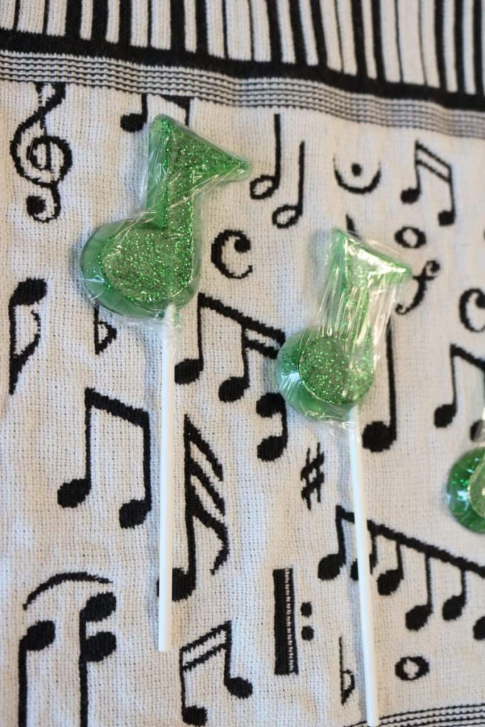 music note soap wrapped in plastic wrap