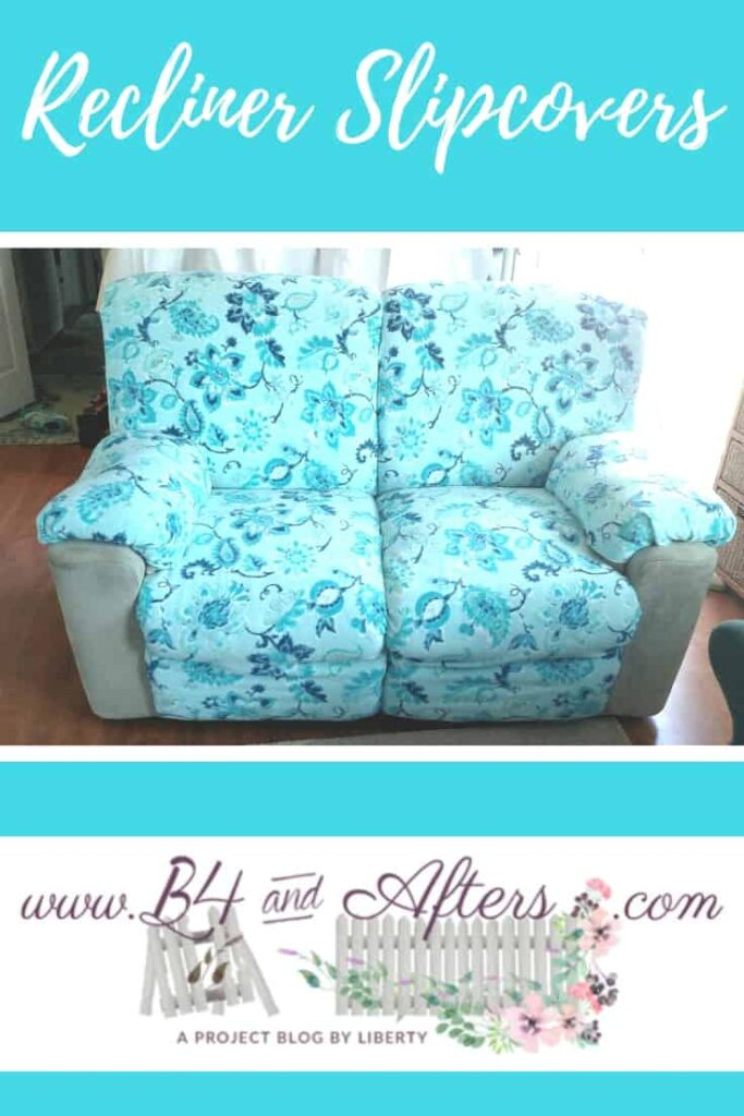 blue and green floral fabric covered recliner slipcovers