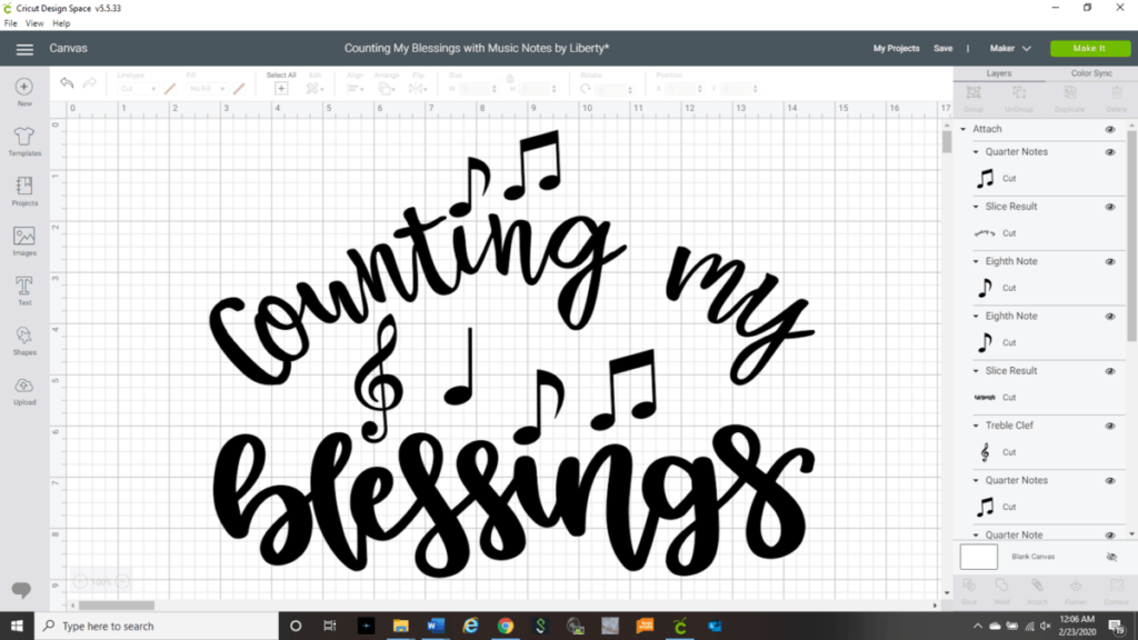 Cricut Design Space showing my design Counting My Blessings