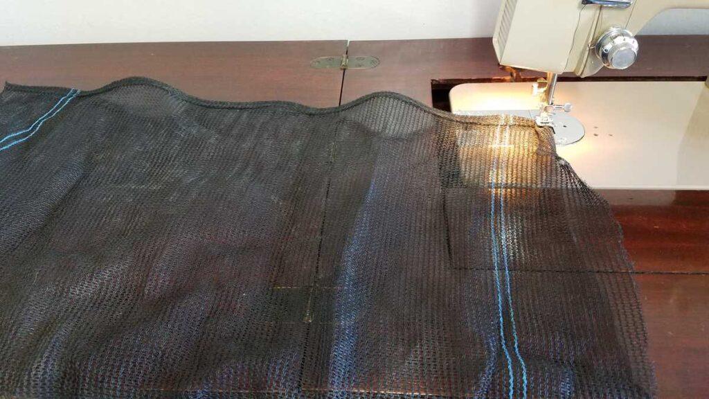 trampoline net at sewing machine