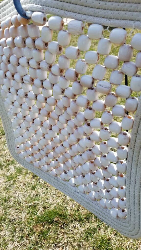 white painted wooden beads