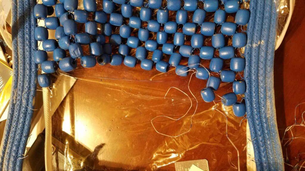 blue wooden beads