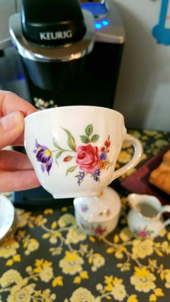 closeup of teacup