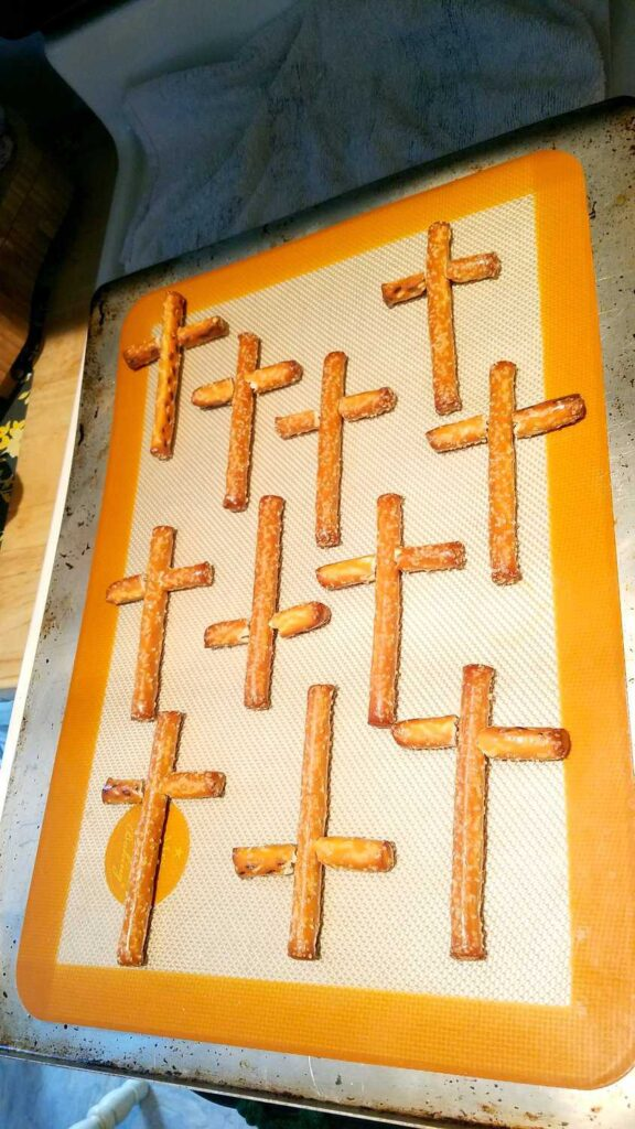 cross pretzels before being covered in chocolate