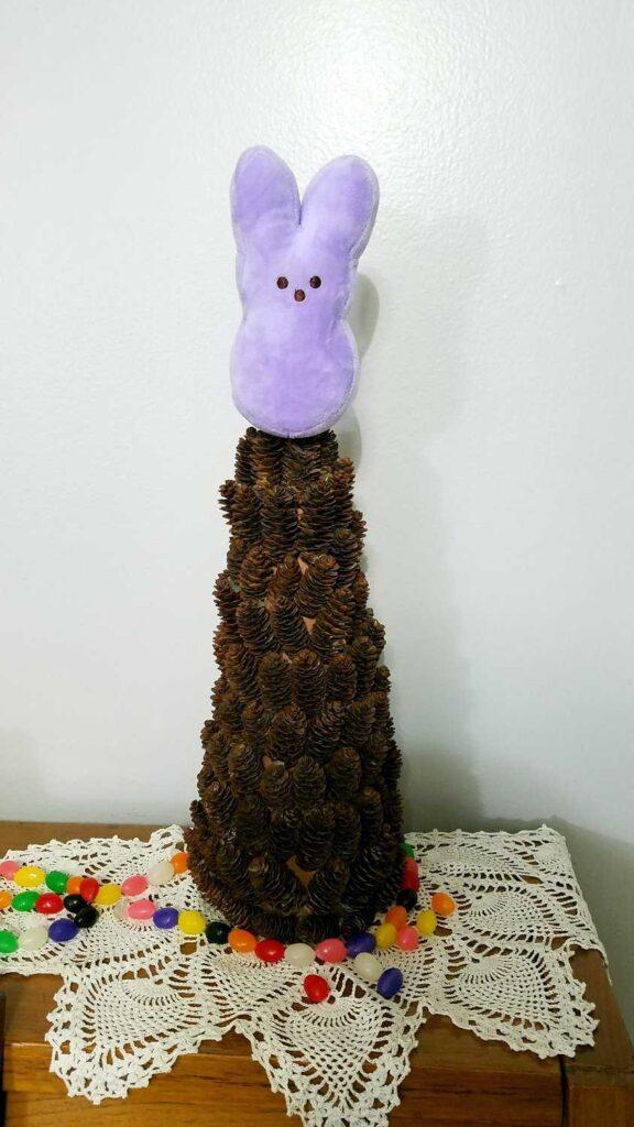 small plush purple Peep as a tree topper