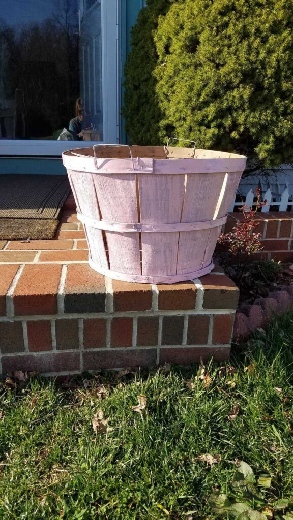 bushel basket painted pink