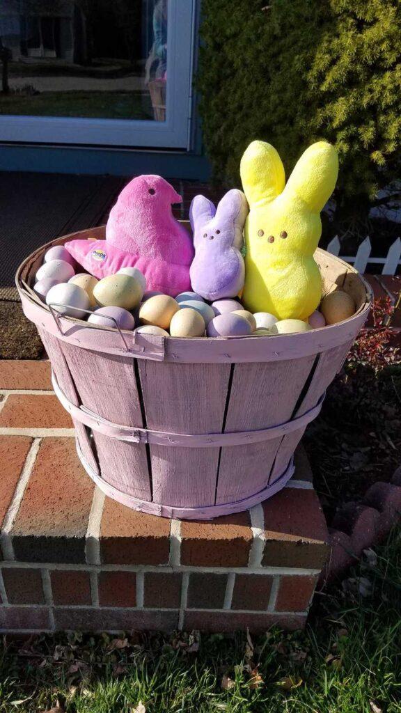 bushel basket decorated for Easter