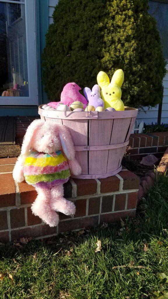bushel basket with stuffed Easter animals