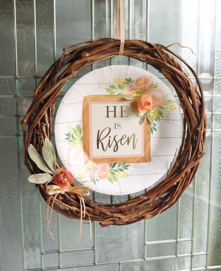 grapevine wreath He is Risen Easter wreath